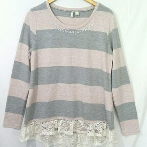 Cato Striped Long Sleeve Hi Low Top Rhinestones M
